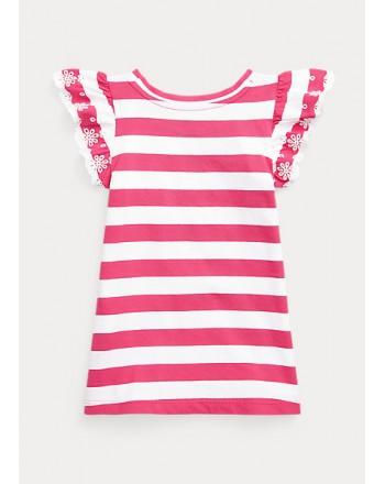 POLO KIDS - Striped Rouche T-Shirt -Fuxia -