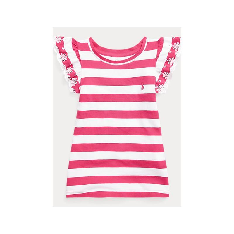 POLO KIDS - T-Shirt Rouche Righe - Fucsia
