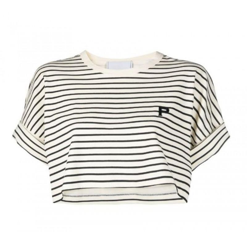 PHILOSOPHY - Kendal striped cropped T-shirt - Sand / Black