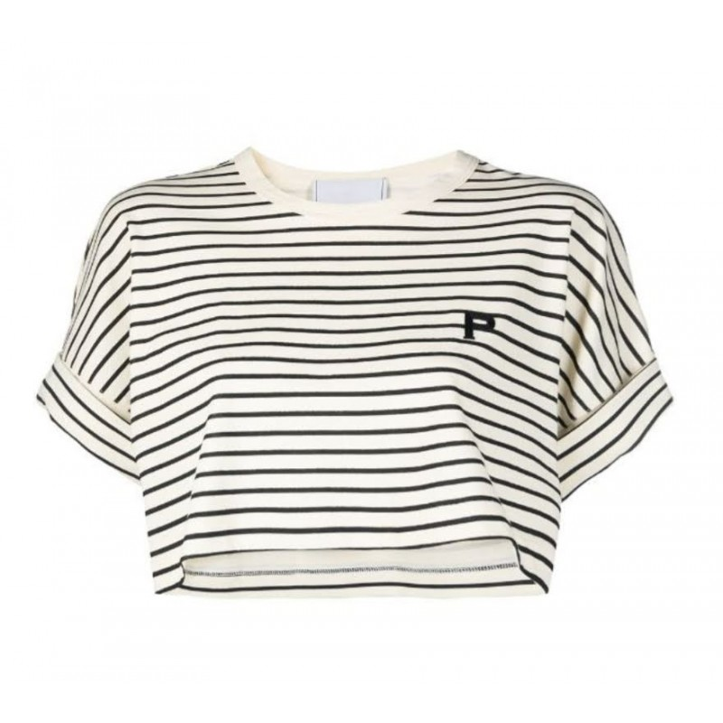 PHILOSOPHY - T-shirt cropped a righe Kendal - Sabbia/Nero