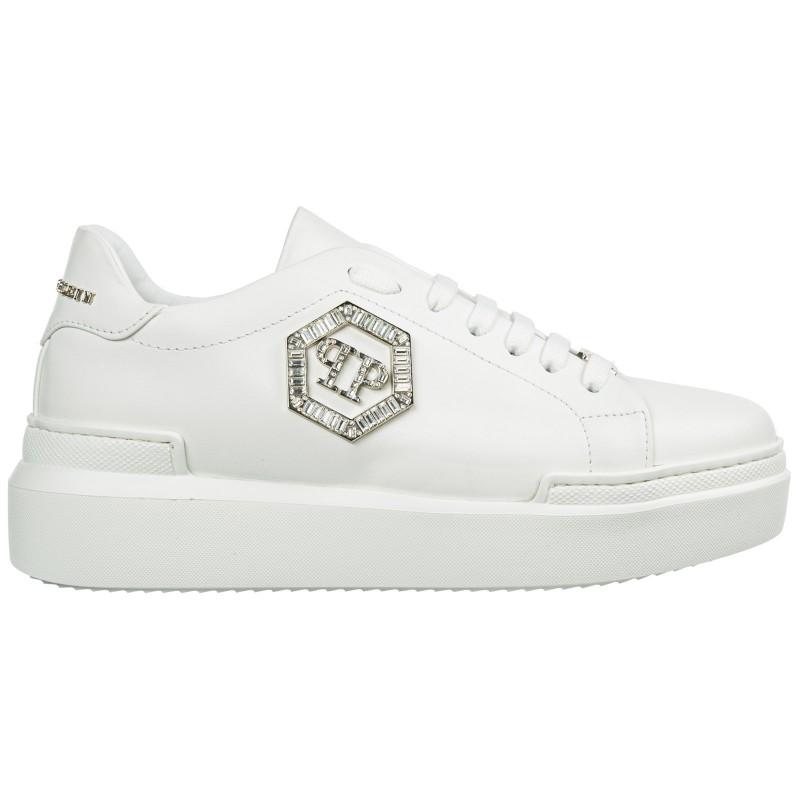 PHILIPP PLEIN - LoTop Sneakers CRYSTAL in pelle - Bianco
