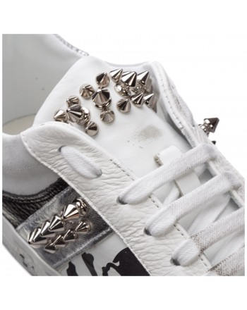 PHILIPP PLEIN - Leather Sneakers with Logo and Studs - White