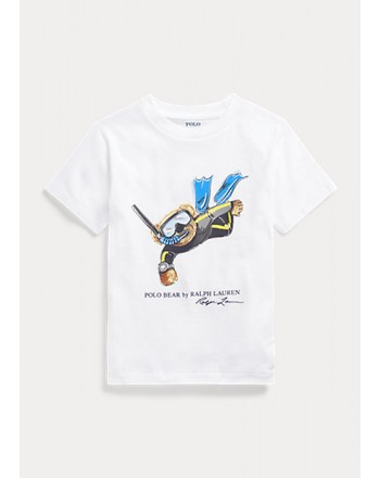 POLO KIDS - T-Shirt Orso Sub -Bianco -