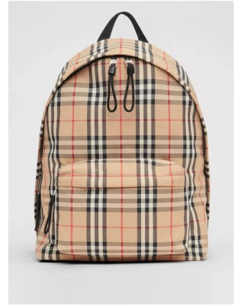 BURBERRY - Zaino in nylon con motivo check - Archive Beige