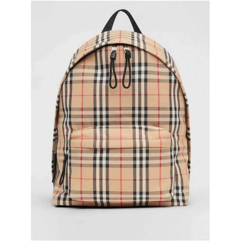 BURBERRY - Nylon backpack with check pattern - Archive Beige