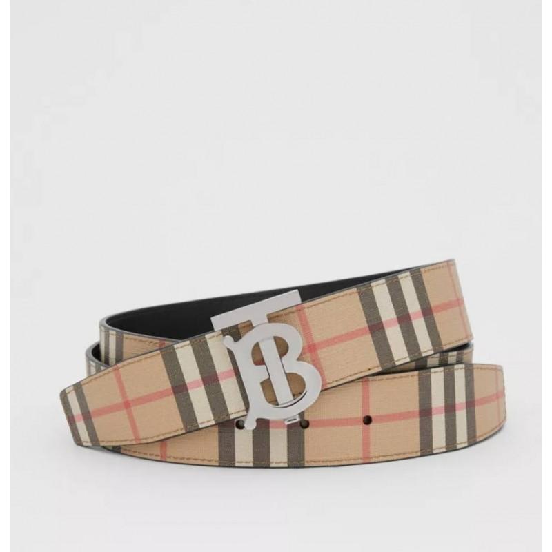 BURBERRY - Cintura reversibile con motivo  check e monogramma - Archive Beige