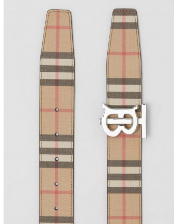 BURBERRY - Reversible belt with check motif and monogram - Archive Beige