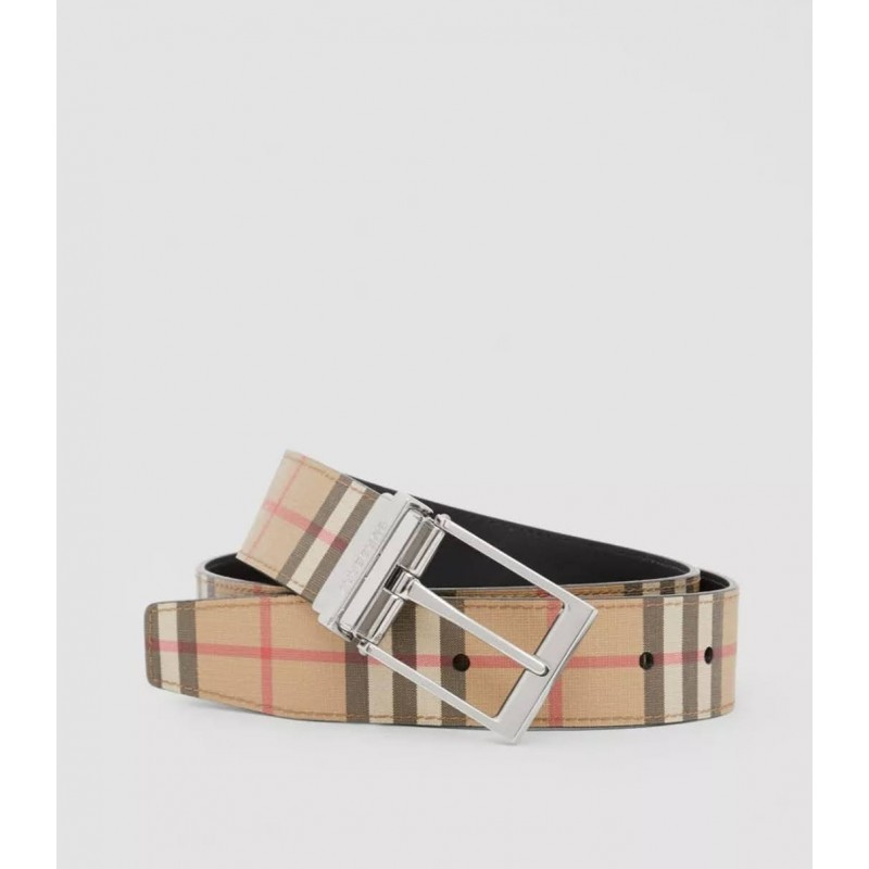 BURBERRY - Reversible belt in e-canvas check and leather - Archive Beige / Black