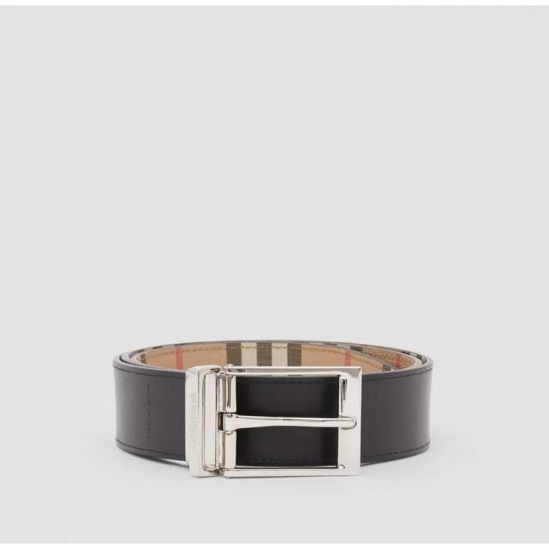 BURBERRY - Cintura reversibile in e-canvas  check e pelle - Archive Beige/Nero