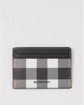 BURBERRY - Porta carte di credito in pelle motivo Tartan - Dark Birch Brown