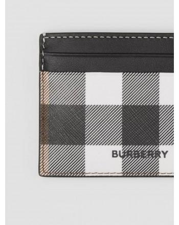BURBERRY - Credit card holder in Tartan motif leather - Dark Birch Brown