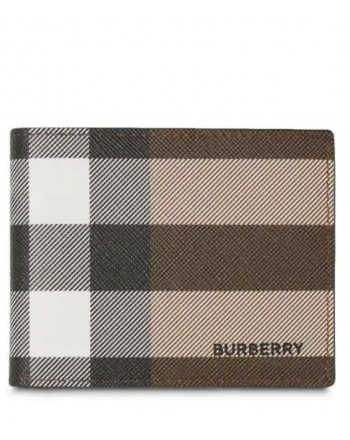 BURBERRY - Portafoglio a quadri International - Dark Birch Brown