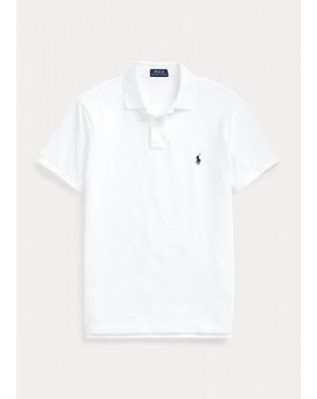 POLO RALPH LAUREN  -  Polo in Piqué Slim-Fit -Bianco