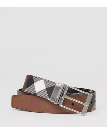 BURBERRY - Cintura reversibile con motivo tartan e pelle - Dark Birch Brown