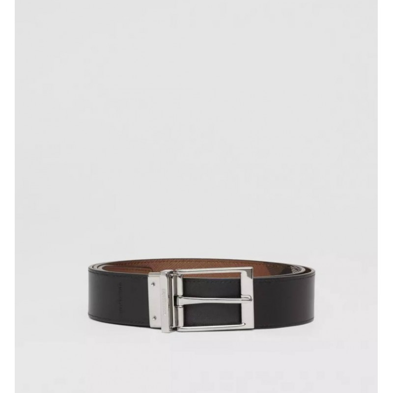 BURBERRY - Reversible belt with tartan and leather motif - Dark Birch Brown