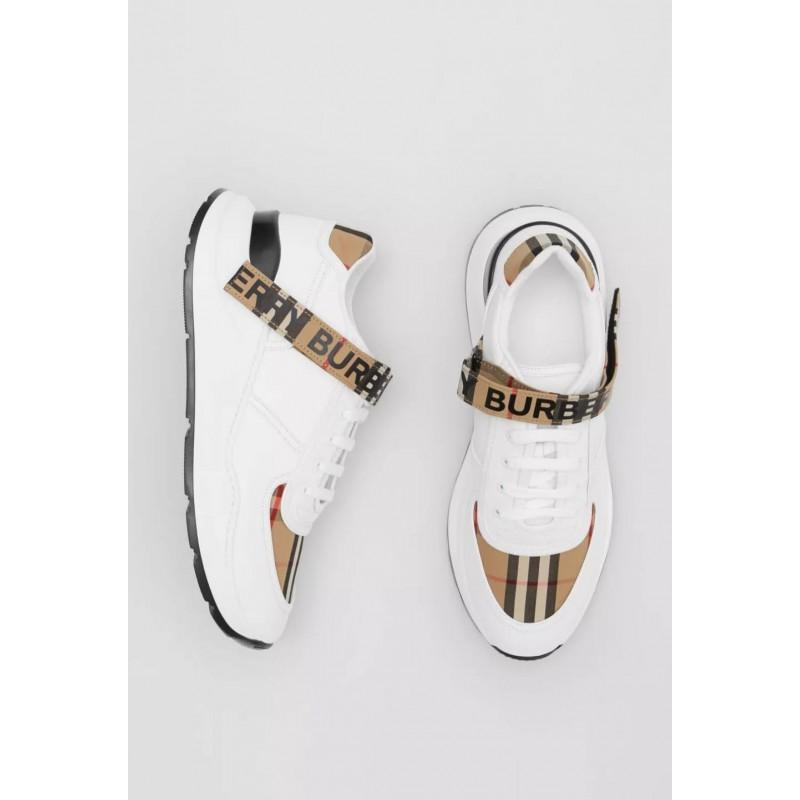 BURBERRY - Sneaker in pelle e motivo  check con logo - Archive Beige/Bianco