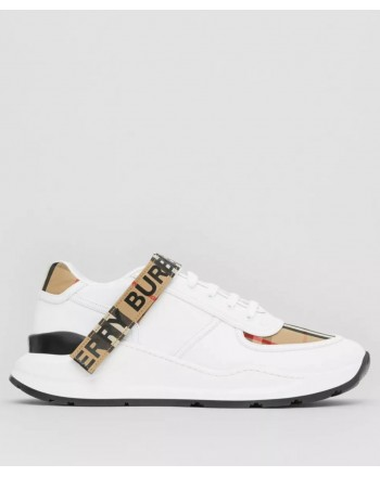 BURBERRY - Leather and check pattern sneakers with logo - Archive Beige / White