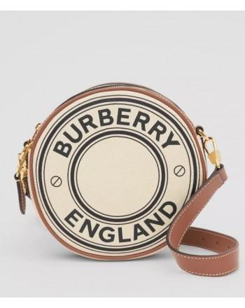 BURBERRY - Borsa Louise in tela e pelle con grafica e logo - Natural