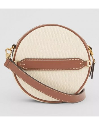 BURBERRY - Louise bag in canvas and leather with graphics and logo - Natural