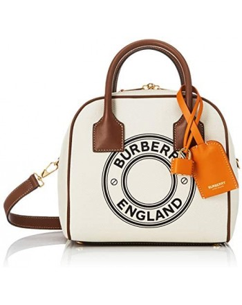BURBERRY - Small Cube bag in cotton canvas with logo - Natural / Tan