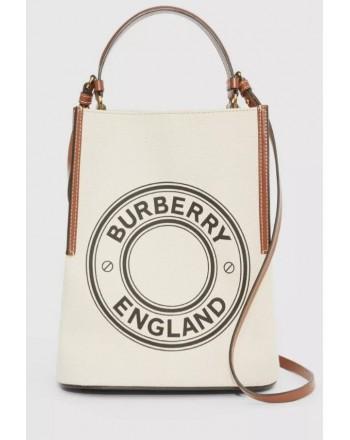 BURBERRY - Borsa a secchiello Peggy piccola in tela di cotone con logo- Natural
