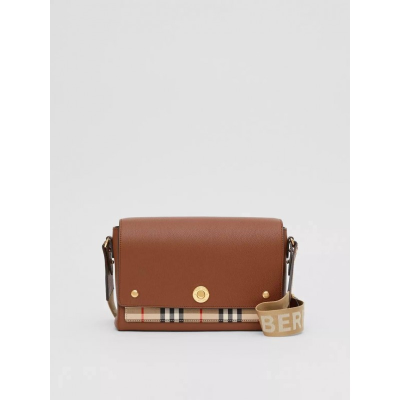 BURBERRY - Note shoulder bag in leather and check fabric - Tan