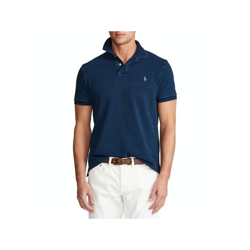 POLO RALPH LAUREN  -  Polo lavata Custom Slim Fit - Blu