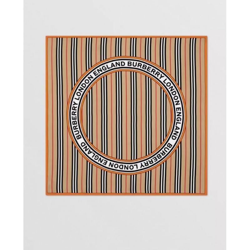 BURBERRY - Foulard in seta con grafica, logo e iconico motivo a righe - Archive Beige