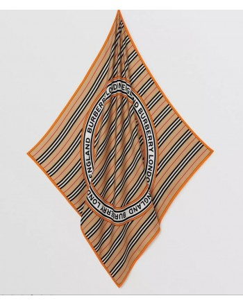 BURBERRY - Silk foulard with graphics, logo and iconic striped pattern - Archive Beige