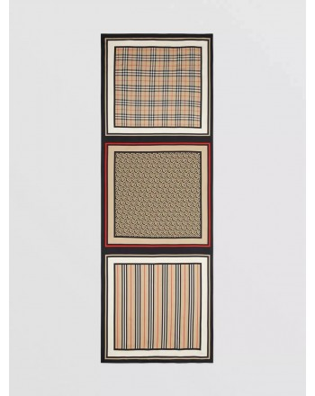 BURBERRY - Silk scarf with iconic striped, monogram and tartan motif - Archive Beige