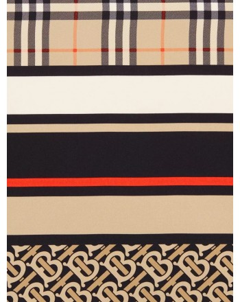 BURBERRY - Sciarpa in seta con iconico motivo a righe, monogramma e tartan - Archive Beige