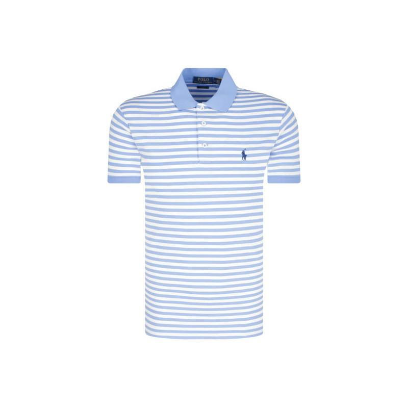 POLO RALPH LAUREN  - Striped Polo  - White /Celestial -