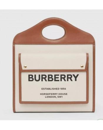 BURBERRY - Borsa Pocket media bicolore in tela e pelle - Natural/Malt Brown