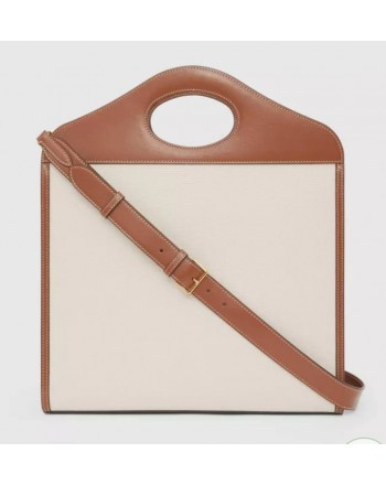 BURBERRY - Two-tone medium pocket bag in canvas and leather - Natural / Malt Brown