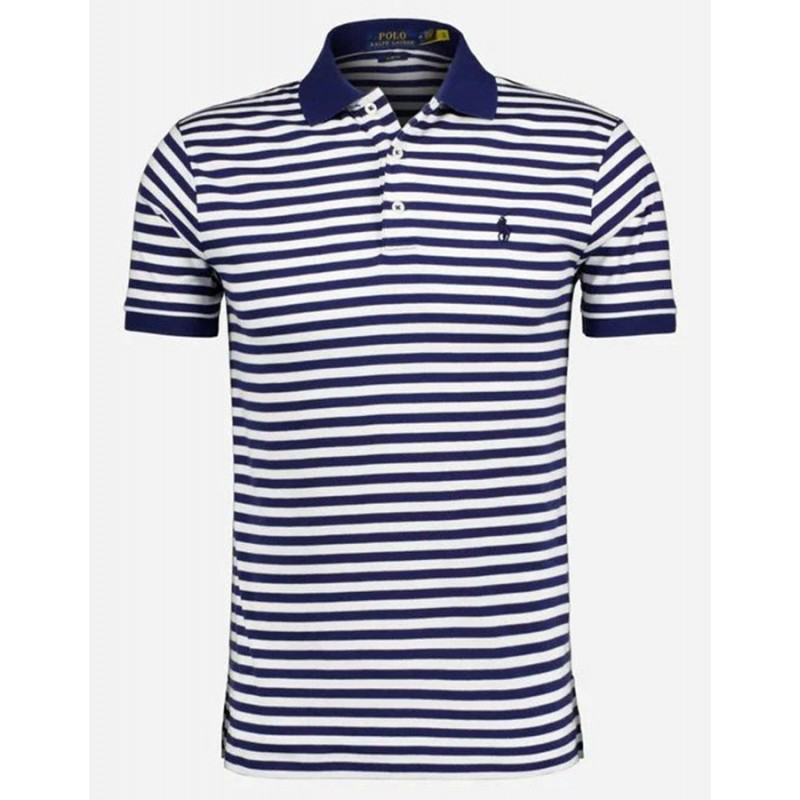 POLO RALPH LAUREN  - Striped Polo  - White /Blue -