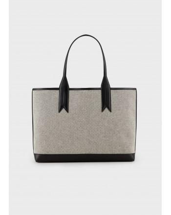 EMPORIO ARMANI - Canvas Shopping Bag -White/ Black/Ecru
