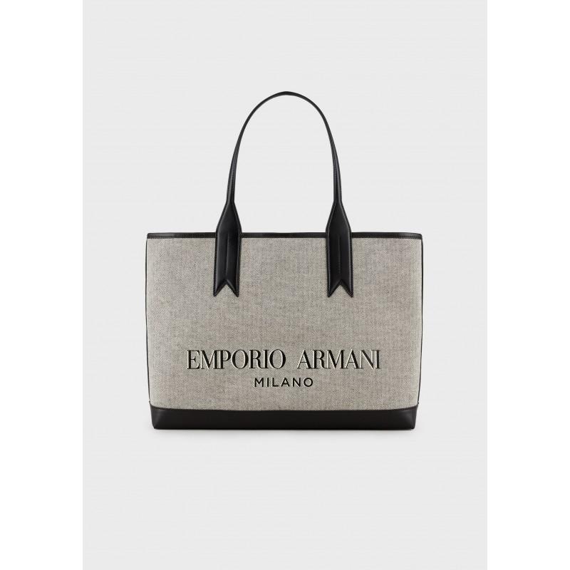 EMPORIO ARMANI - Borsa Shopping in Canvas - Bianco/Nero/Ecru