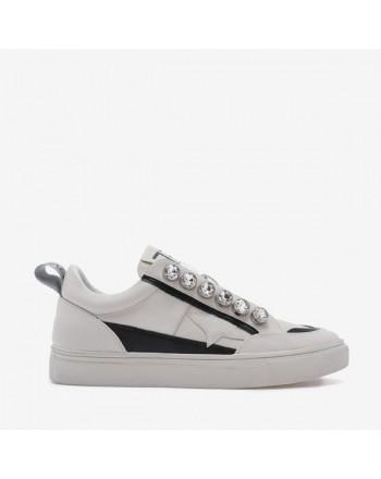 EMANUELLE VEE - Sneakers con Dettagli Strass 411P803 - Ivory/Nero
