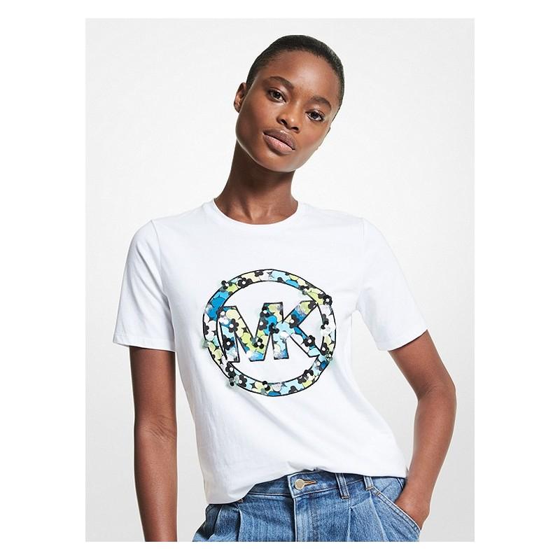 MICHAEL by MICHAEL KORS -T-Shirt in Cotone con Logo Fiori  - Bianco