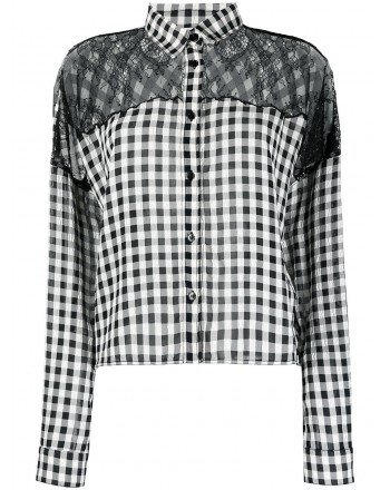 PHILOSOPHY - Checked shirt with lace - Black / White