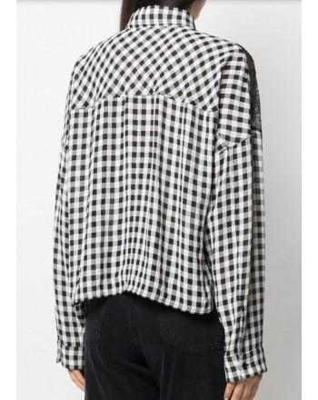 PHILOSOPHY - Camicia a quadri con pizzo -  Nero/Bianco