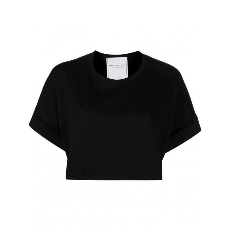 PHILOSOPHY - T-shirt cropped con ricamo - Nero