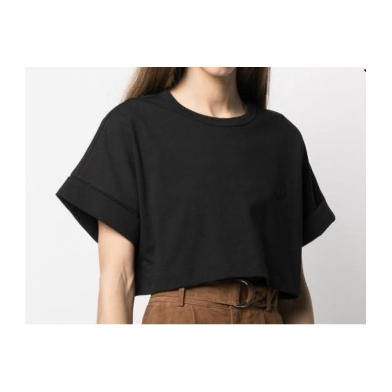 PHILOSOPHY - Cropped T-shirt with embroidery - Black