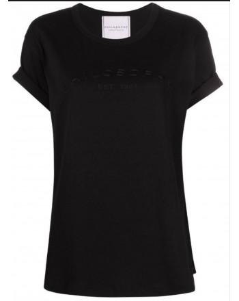 PHILOSOPHY - T-shirt in jersey di cotone con logo - Nero