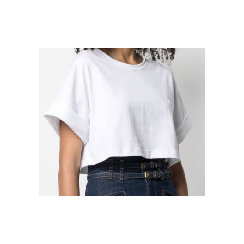 PHILOSOPHY - Cropped T-shirt with embroidery - White