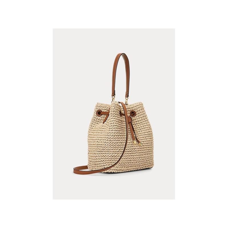 POLO RALPH LAUREN  - Debby Straw Bag Bucket - Tan -