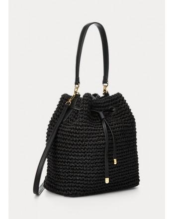 POLO RALPH LAUREN  - Debby Straw Bag Bucket - Black -