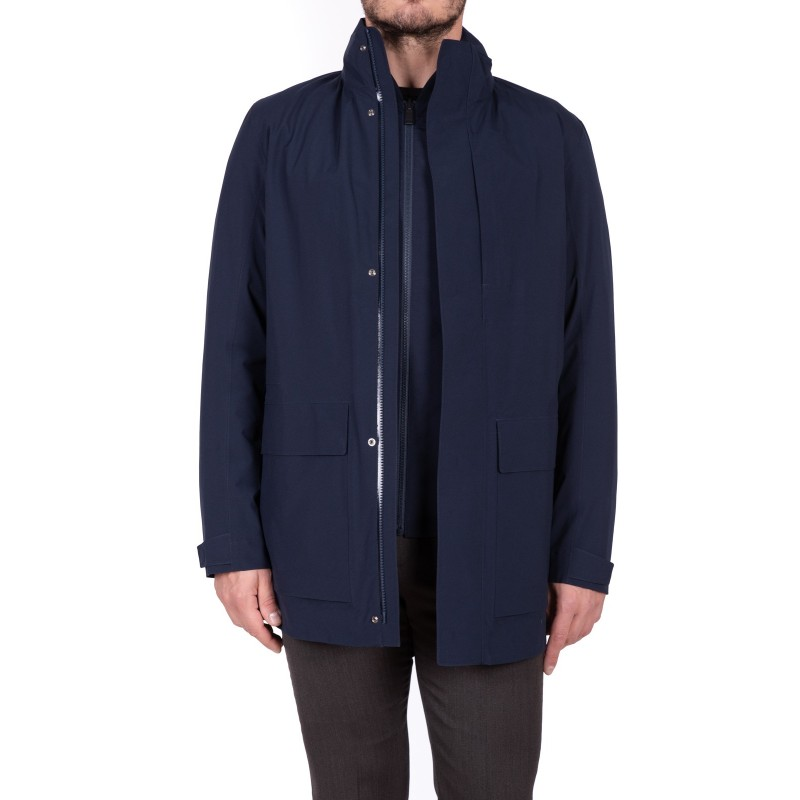 ERMENEGILDO ZEGNA - Raincoat with Flap Pockets - Blue