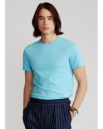 POLO RALPH LAUREN  - T-Shirt in jersey Custom Slim - Celeste -