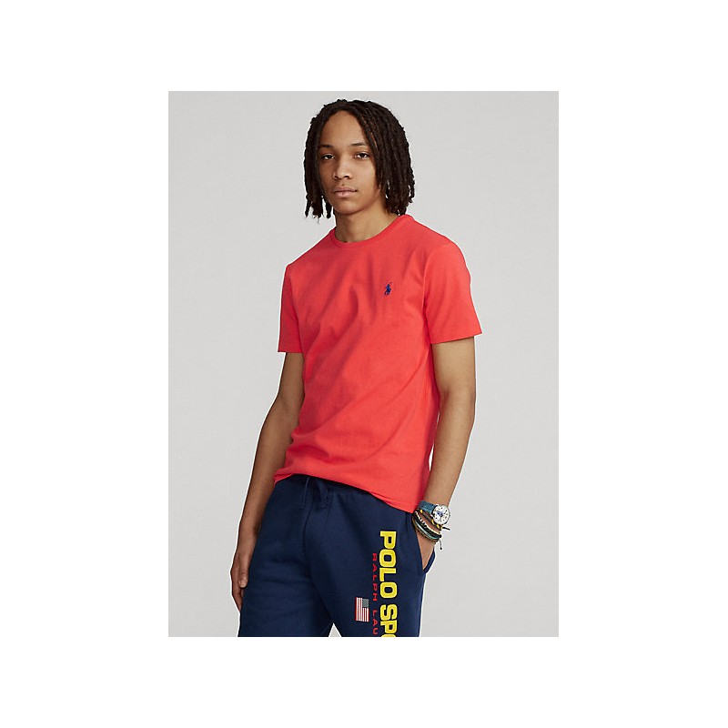 POLO RALPH LAUREN  - T-Shirt in jersey Custom Slim - Rossa